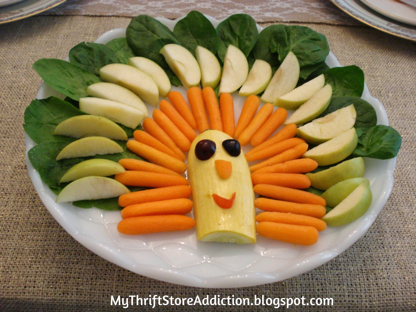 Turkey shaped fruit and veggie tray