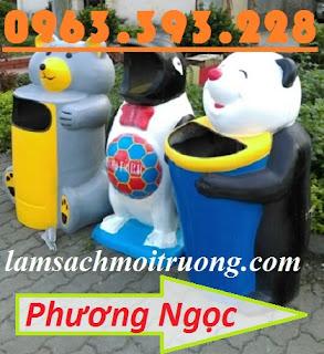 Thùng rác hình con vật, thùng rác công viên, thùng rác hình chim cánh cụt, thùng rác công cộng hình con thú