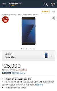 Samsung galaxy c7pro navy blue