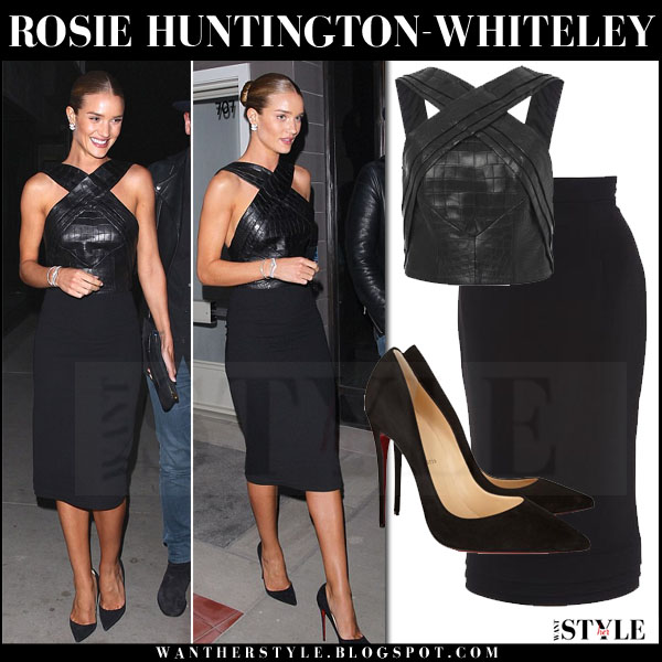 Rosie Huntington-Whiteley in black leather brandon maxwell top, black pencil brandon maxwell skirt and black suede louboutin so kate pumps what she wore