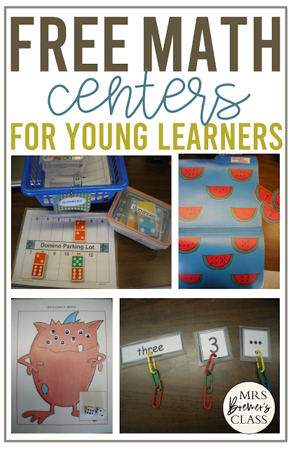 Free Math Activity Centers for Kindergarten and First Grade