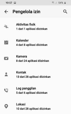 Pengelolaan izin Samsung - Izin Aplikasi