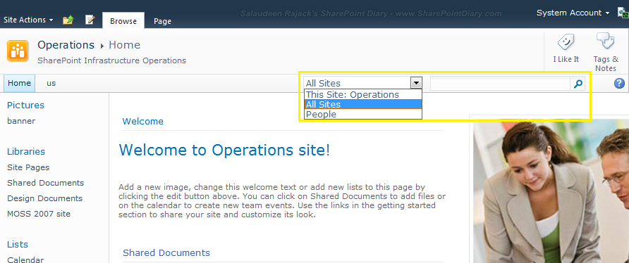 sharepoint 2010 search scope drop down