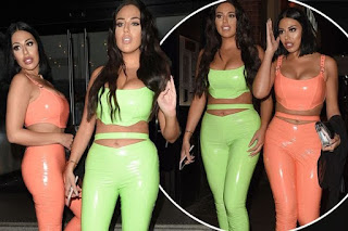 Love Island's Anna Vakili and sister Mandi steps out in a matching skintight PVC for Harley Brash's 21st Birthday party