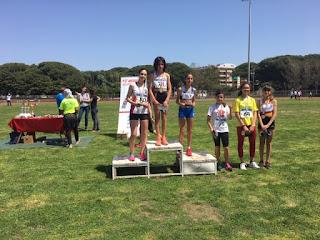 Il podio dei mt 600 Ragazze con Ginevra Di Mugno(1 class), Lombardi Veronica(3 class), Lautizi Serena (4 class) e Padoan Chiara(6 class)