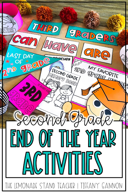 Looking for second grade end of the year activities?!  This fun end of the year pack has all you need to finish the year with lots of fun!  End of the year pennant flags for last day photos, memory book, anchor chart pieces, student hats, a graduation craft, and more!  Click here to read more about it!