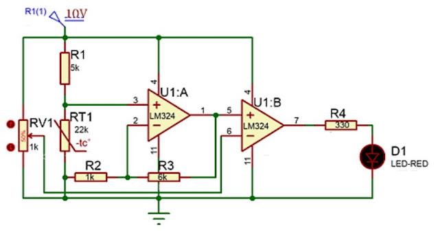 Implementasi sensor NTC dengan kendali analog