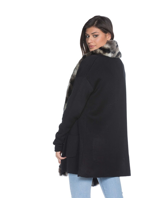 Casaco feminino tricot com pelo em tricô de peso médio macio e elegante