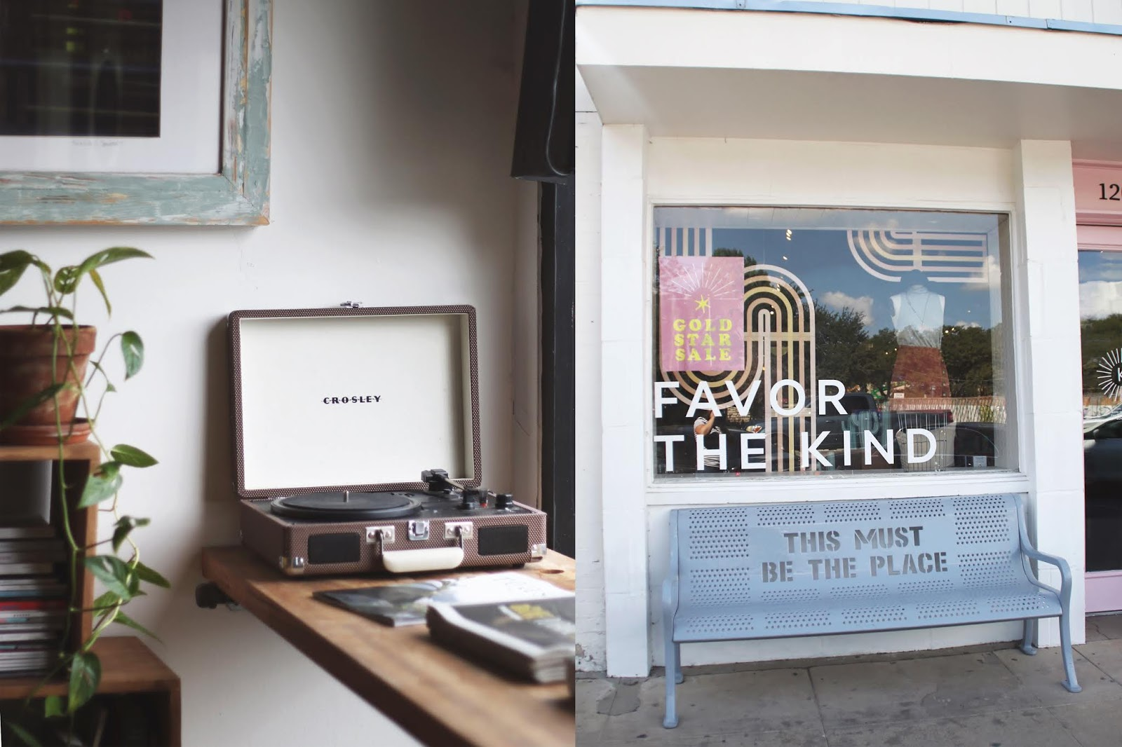 record player, coffee shop record player, favor the kind store, favor the kind storefront, favor the kinds austin texas, south congress austin