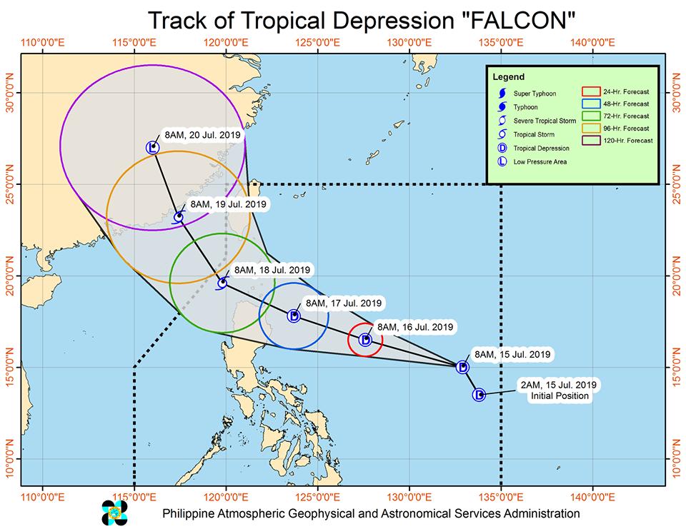 Latest track of Tropical Depression 'Falcon'