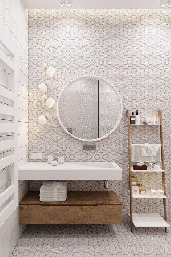 Modern white bathroom decorated