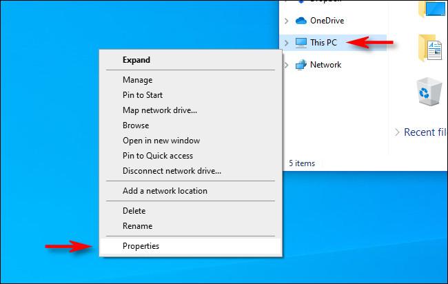 """انقر بزر الماوس الأيمن فوق """"هذا الكمبيوتر الشخصي"""" في مستكشف الملفات وحدد """"خصائص""""."""