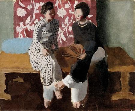 Tranh hai người phụ nữ đang trò chuyện của họa sĩ người Pháp Joseph Inguimberty