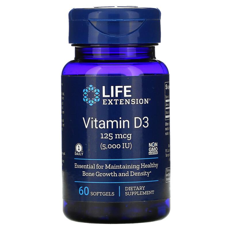 Life Extension, витамин D3, 125 мкг (5000 МЕ), 60 мягких таблеток