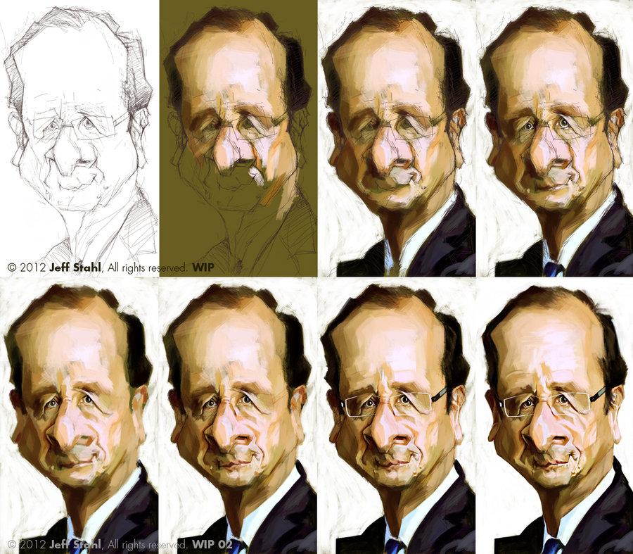 "Proceso de caricatura ""François Hollande"" por Jeff Stahl"