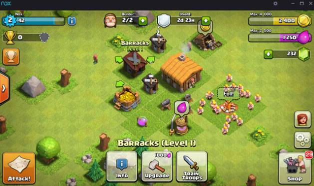 Antarmuka Nox App Player saat memainkan game Clash of Clans di komputer