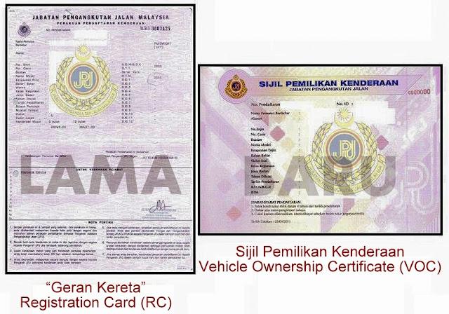 Sijil Pemilikan Kenderaan (Vehicle Ownership Certificate) -VOC