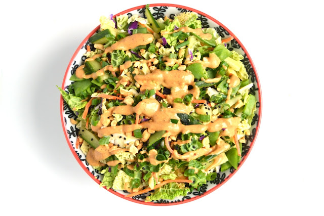 Spicy Peanut Asian Slaw is loaded with crisp and delicious vegetables that are topped with a creamy spicy peanut dressing, chopped peanuts, green onions and sesame seeds! www.nutritionistreviews.com