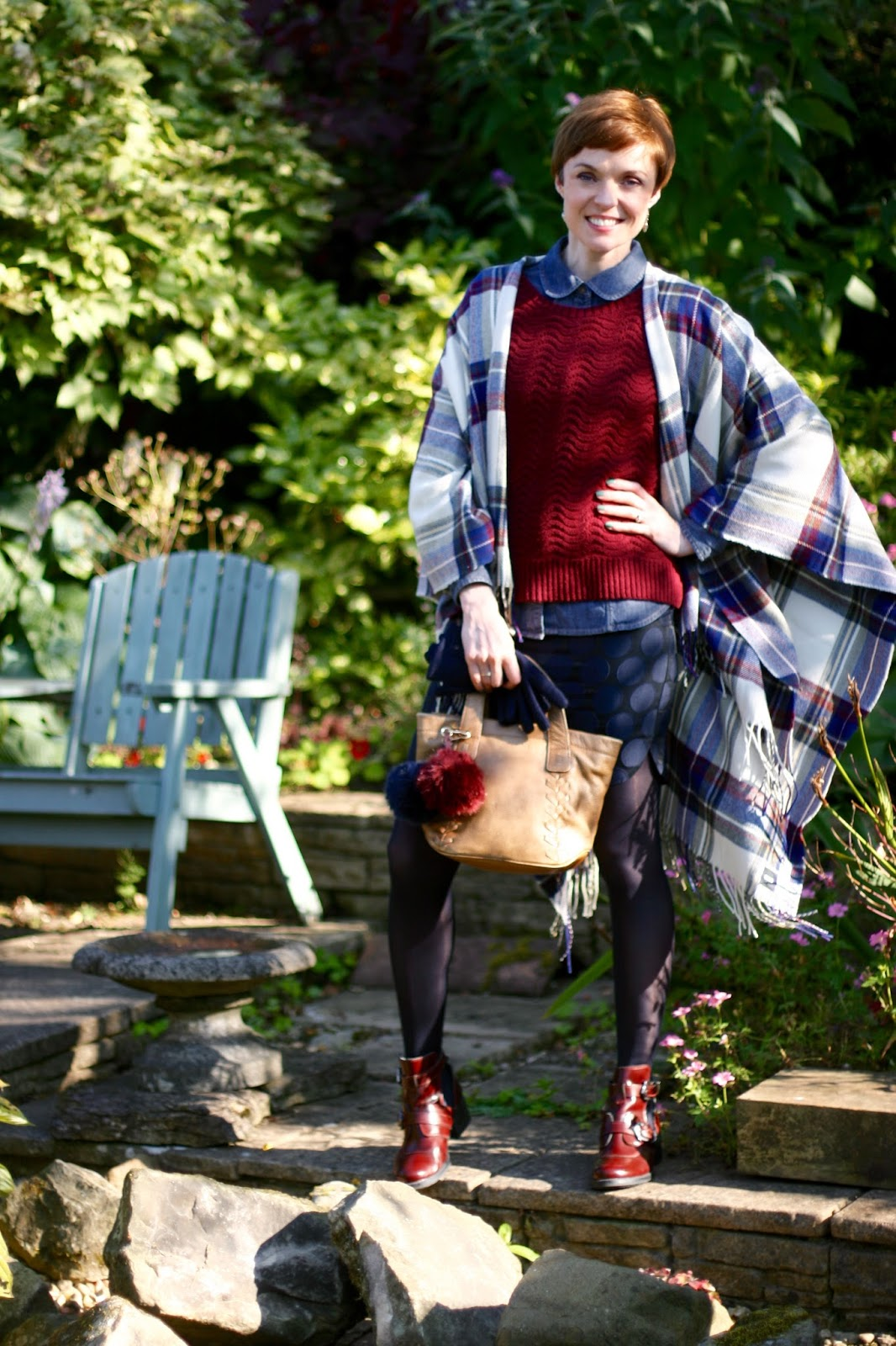 Early Autumn style, wearing a plaid cape with denim.
