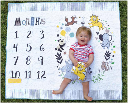 Milestone Mat Quilt designed by Jill McDonald and Lisa Swenson Ruble, using Dream Collection for Windham Fabrics