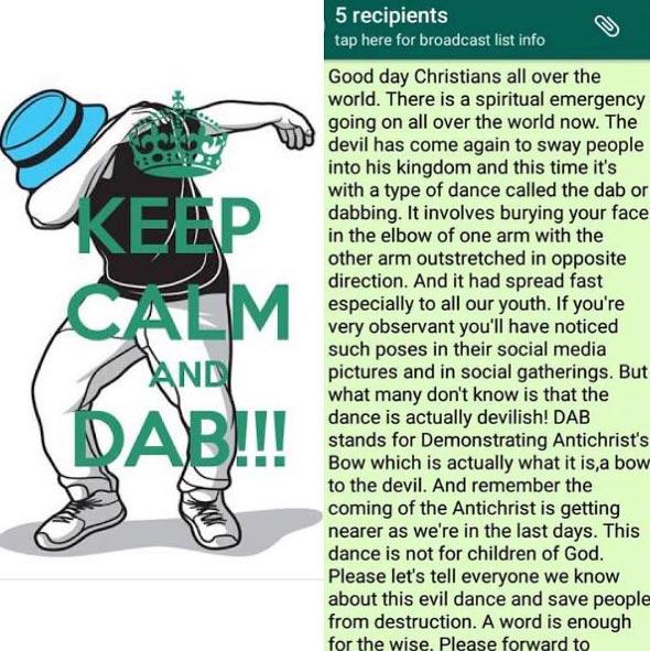"Whatsapp prayer group tells members that ""dabbing"" is ""anti-christ"""