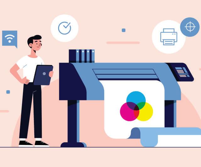 desenho de um homem usando a impressora para imprimir papel