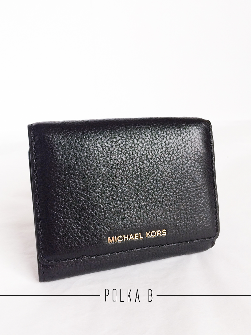 bf048118e240 Michael Kors Liane Small Leather Billfold - Black | Polka B ...