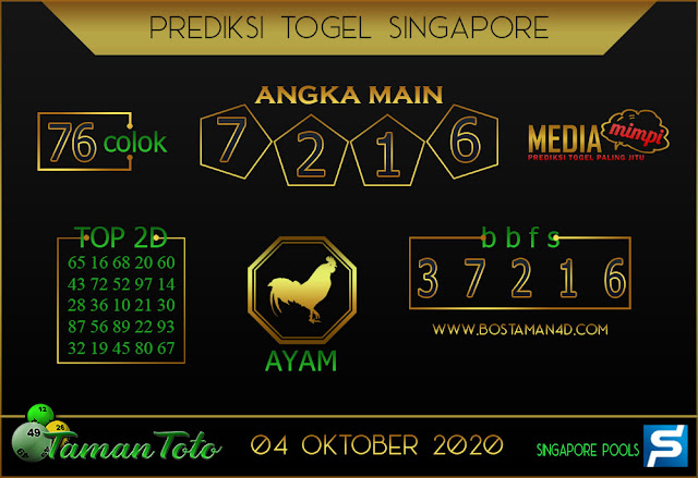 Prediksi Togel SINGAPORE TAMAN TOTO 04 OKTOBER 2020