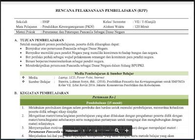 Download RPP Pendidikan Kewarganegaraan (PKN) Kelas 7 Semester 1 Tahun 2021