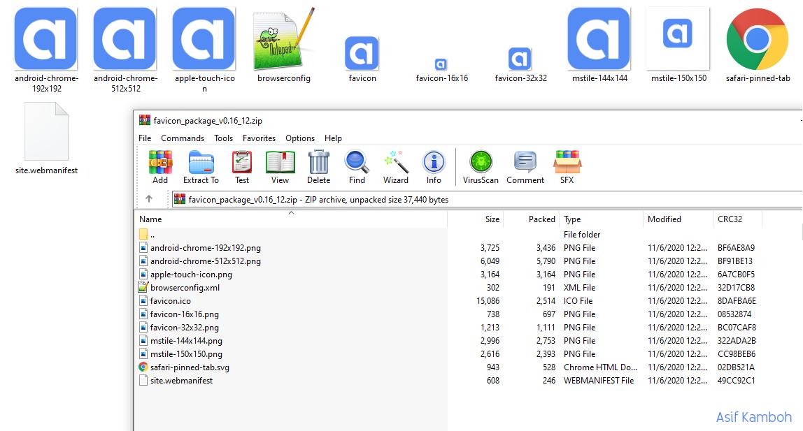 Extract the Favicon package file into a favicon folder.
