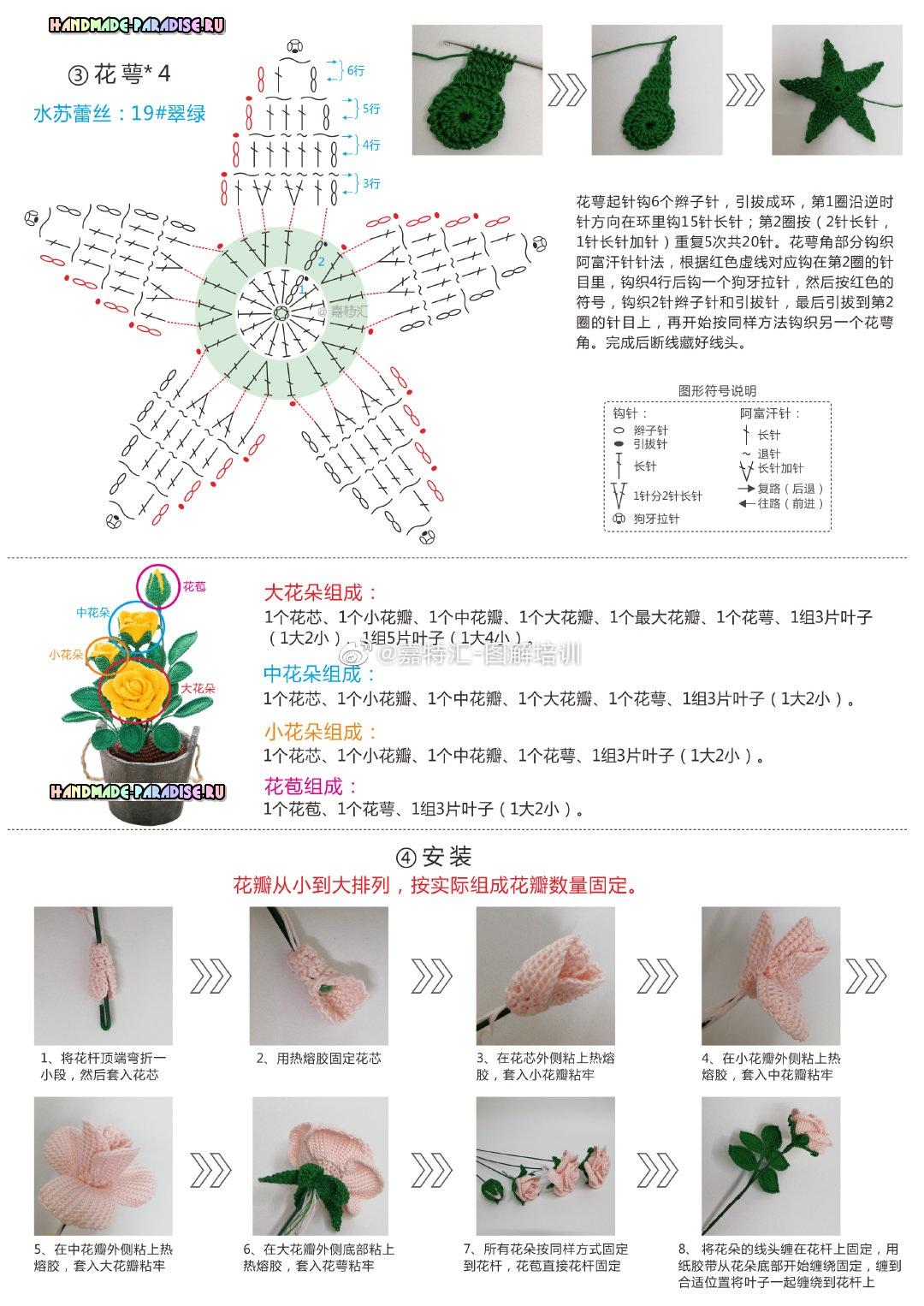 Схема вязания чашелистика и наглядное пособие по сборке цветов