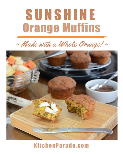Sunshine Orange Muffins ♥ KitchenParade.com, barely sweet, sweetened mostly with a whole orange and one of my favorite pantry ingredients for a flavor boost, frozen orange juice concentrate.