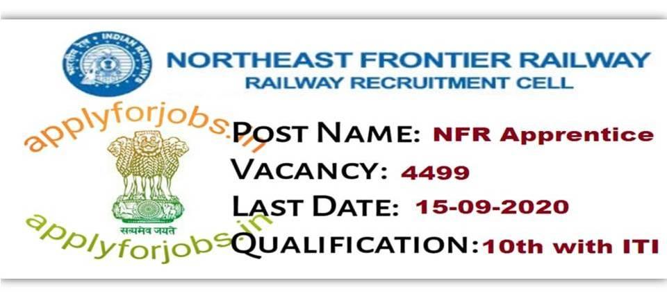 Railway NFR Trade Apprentice Online Recruitment 2020, applyforjobs.in
