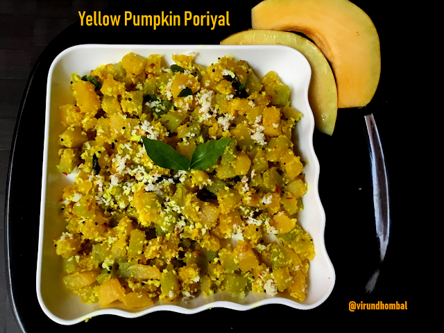 Yellow pumpkin Poriyal - Poosanikai Poriyal - Vegetable Side dishes for lunch - Yellow pumpkin recipes - Poriyal recipes for lunch.