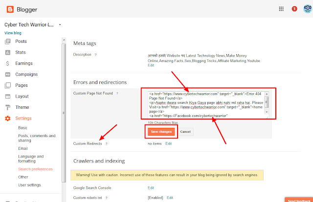 blogger search preference setting