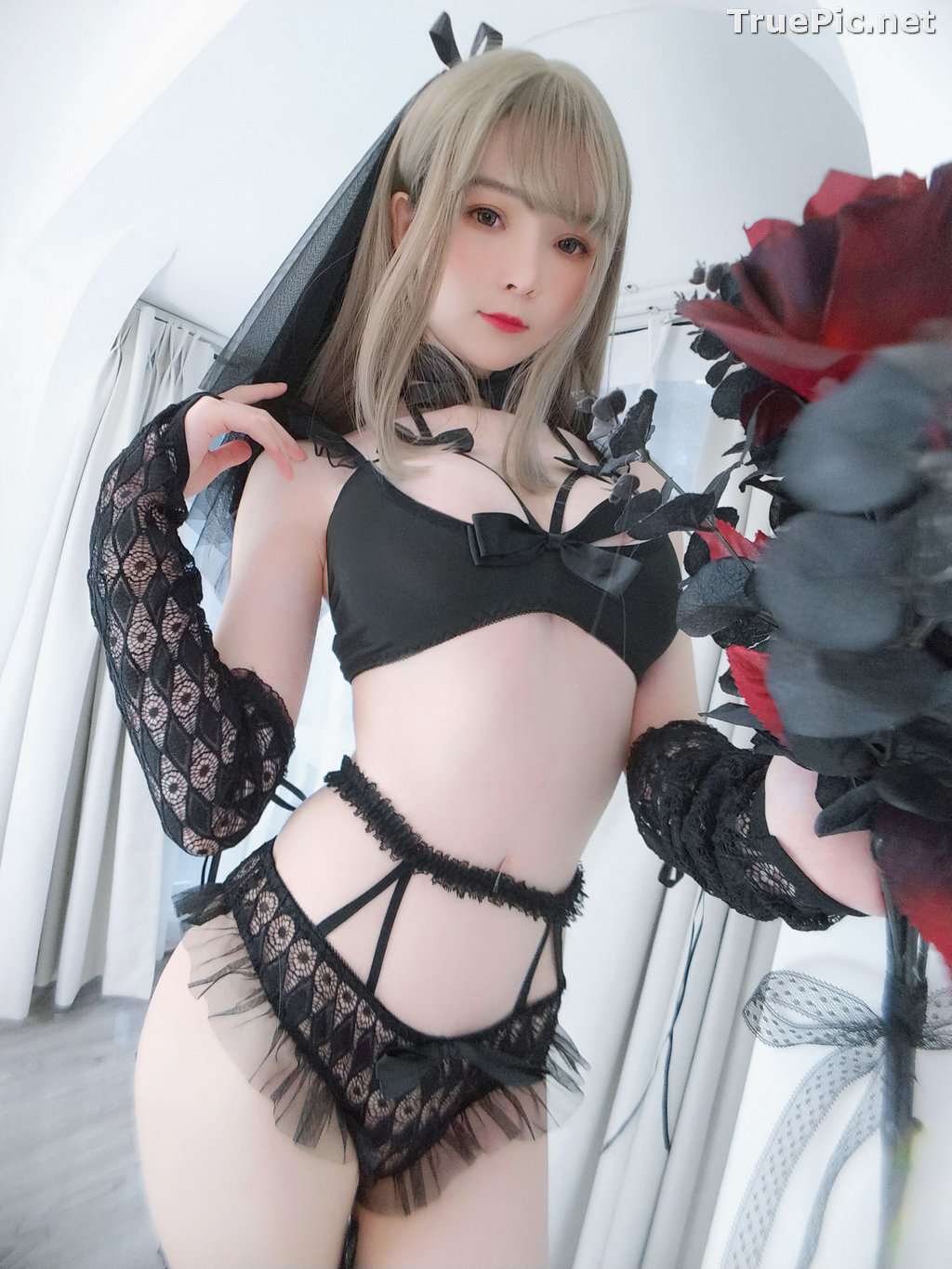 Image Chinese Model - 一小央泽 (Yixiaoyangze) - Sexy Black Rose - TruePic.net - Picture-7