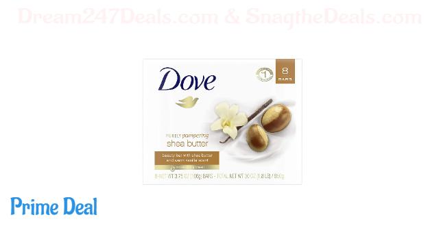Dove Beauty Bar for Softer Skin Shea Butter More Moisturizing Than Bar Soap 3.75 oz 8 Bars
