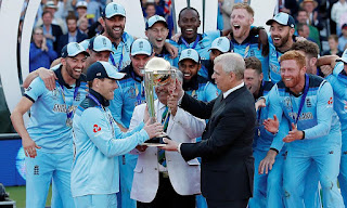 England's team receiving the world cup trophy