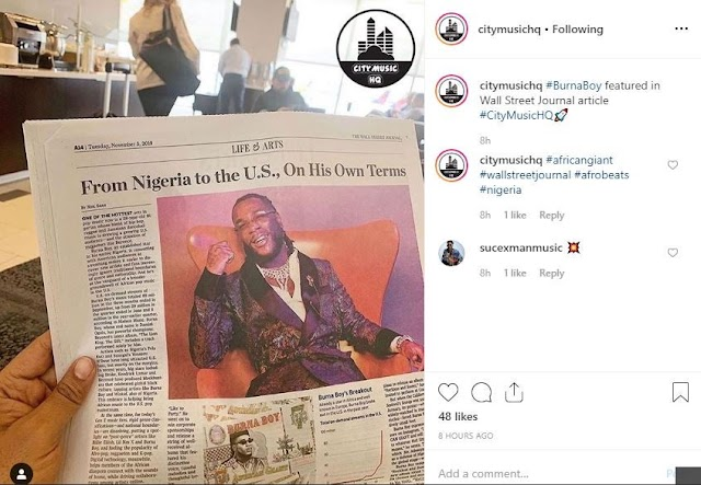 Burna Boy Features In the Latest Edition Of Wall Street Journal