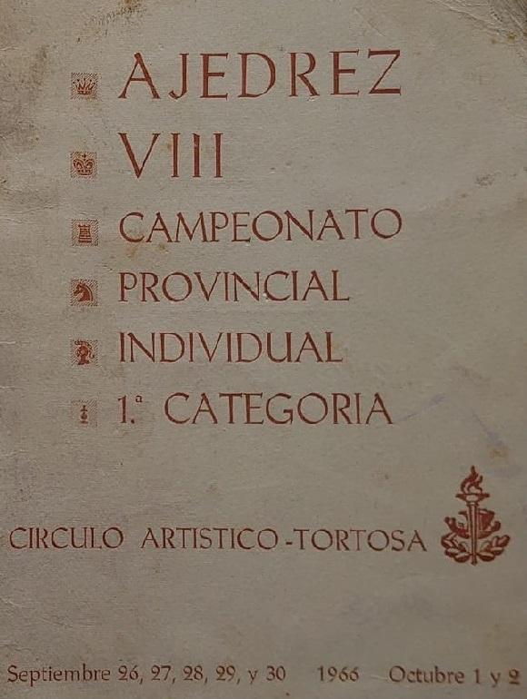Portada del boletín del VIII Campeonato Provincial de Tarragona-1966