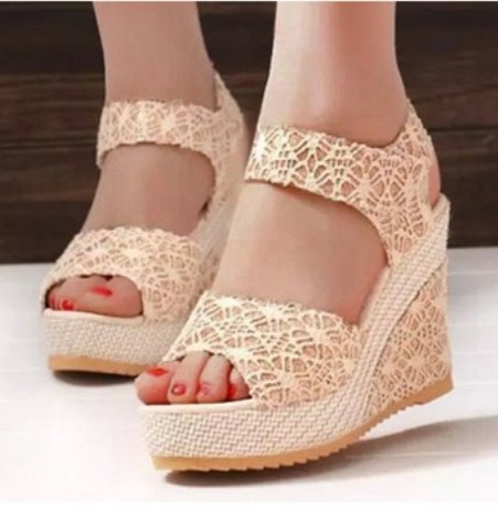 Lace High Heeled Lace Ankle Strap Peep Toe Casual Date Wedges – Price:$17.26