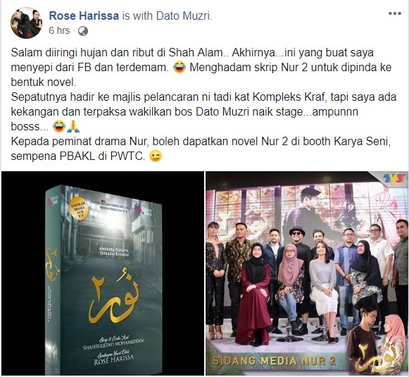 Penulis Novel Drama Nur 2 di Slot Samarinda TV3