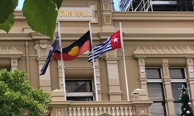 Jelang 1 Desember, Bendera Bintang Kejora Berkibar di Balai Kota Sydney Australia