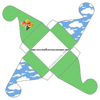 Cajita Winnie de Pooh y sus amigos con cierre con forma de flor para imprimir gratis