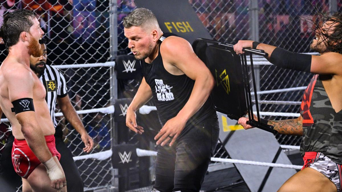 Pat McAfee, Kyle O'Reilly, and Adam Cole in WWE NXT TakeOver: WarGames 2020