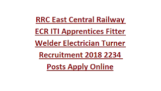 RRC East Central Railway ECR ITI Apprentices Fitter Welder Electrician Turner Recruitment 2018 2234 Posts Apply Online