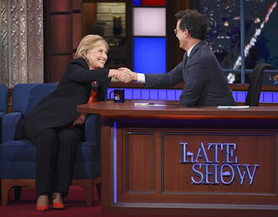 Stephen Colbert with Hillary Clinton
