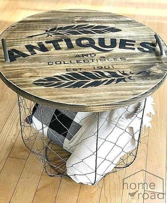 wire basket with stenciled tray top