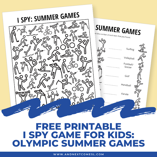 Free I spy game printable for kids: Olympic summer games themed