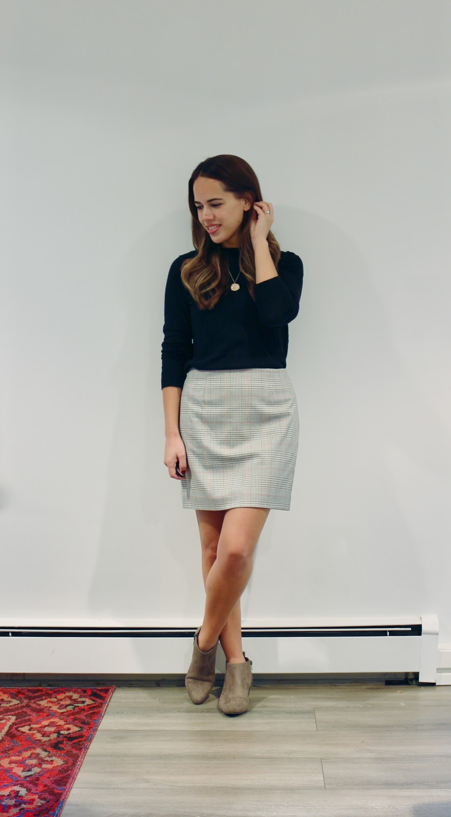 Jules in Flats - Plaid Mini Skirt with Ankle Boots (Business Casual Fall Workwear on a Budget)